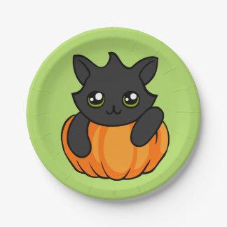 Cute Black Cat Pumpkin Drawing Halloween Plates 7 Inch Paper Plate