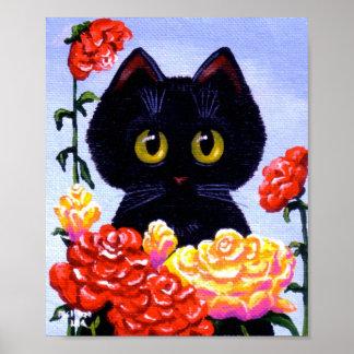 Cute Black Cat Roses Flowers Big Eyes Creationarts Poster