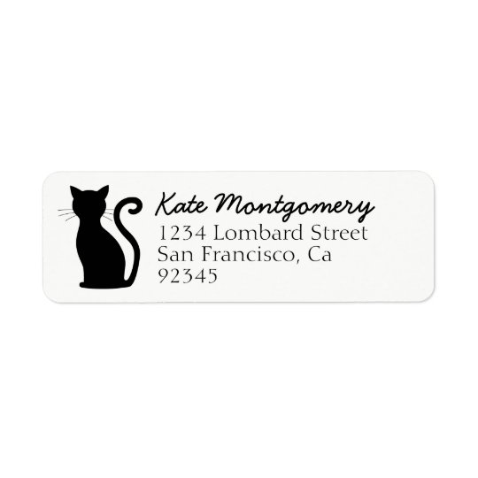 Cute Black Cat White Return Address Labels