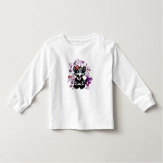 Cute Black Cat With flower - kid's shirt