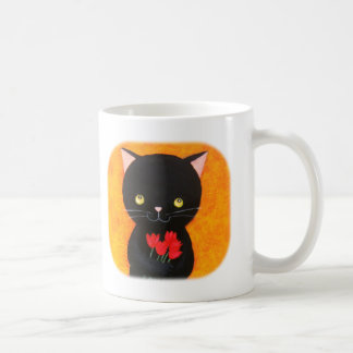 Cute Black Cat with Flowers Mug For Cat Lovers