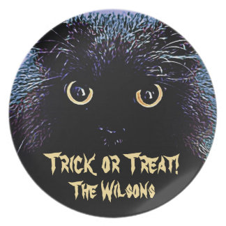 Cute Black Cat with Golden Glowing Eyes Dinner Plate