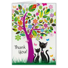 Cute Black Cats and Colourful Flower Tree Thank Card