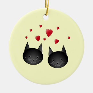 Cute Black Cats with Hearts, on cream. Christmas Ornament