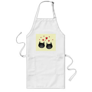 Cute Black Cats with Hearts, on cream. Long Apron