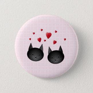 Cute Black Cats with Hearts, on pale pink. 6 Cm Round Badge