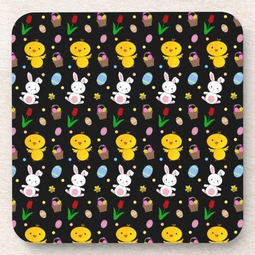 Cute black chick bunny egg basket easter pattern beverage coaster