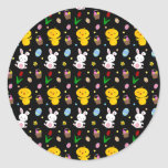 Cute black chick bunny egg basket easter pattern round sticker