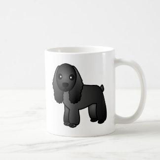 Cute Black Cocker Spaniel Cartoon Basic White Mug