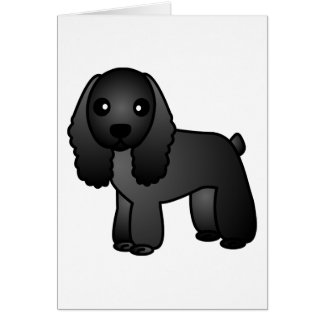 Cute Black Cocker Spaniel Cartoon Card