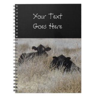 Cute Black Cow Calves Spiral Note Books