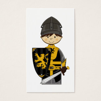 Cute Black Crusader Knight Bookmark Business Card