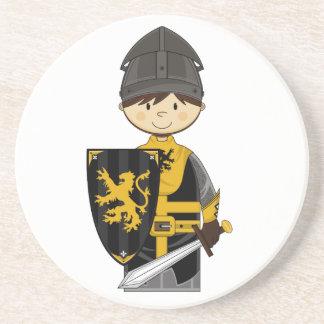 Cute Black Crusader Knight Coaster