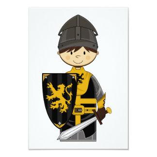 Cute Black Crusader Knight RSVP Card 9 Cm X 13 Cm Invitation Card