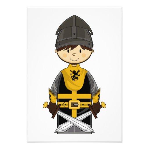 Cute Black Crusader Knight RSVP Card Invites