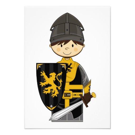 Cute Black Crusader Knight RSVP Card Custom Invitation