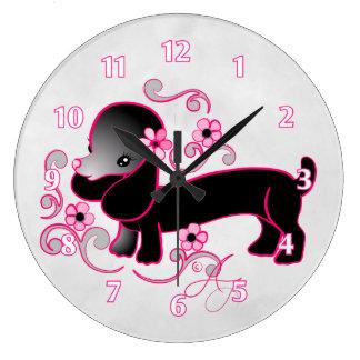 Cute Black Dachshund Large Clock