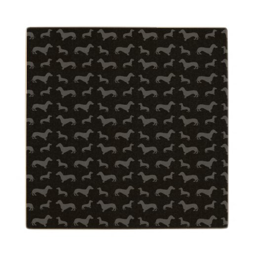 Cute black dachshund pattern wood coaster