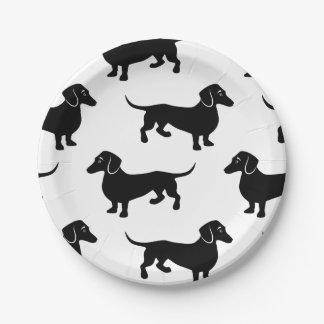Cute Black Dachshund Pattern Paper Plate