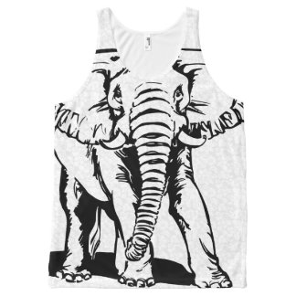 Cute Black Elephant Line Drawing 2 All-Over Print Tank Top