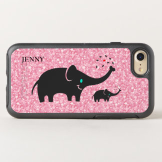 Cute Black Elephants Over Pink Glitter OtterBox Symmetry iPhone 8/7 Case