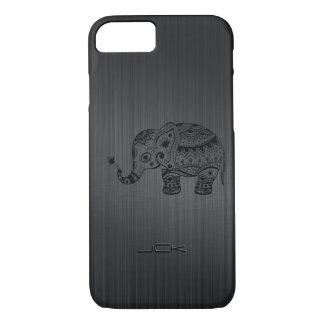 Cute Black Floral Elephant On Metallic Gray iPhone 7 Case