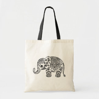 Cute Black Floral Paisley Elephant Illustration. Budget Tote Bag
