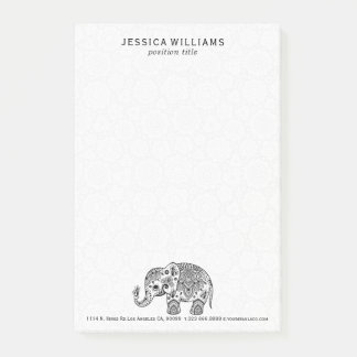 Cute Black Floral Paisley Elephant Illustration Post-it Notes