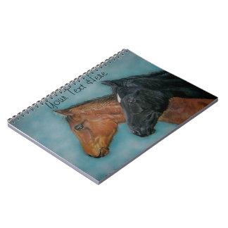 cute black foal chestnut foal colt portrait horse spiral notebooks