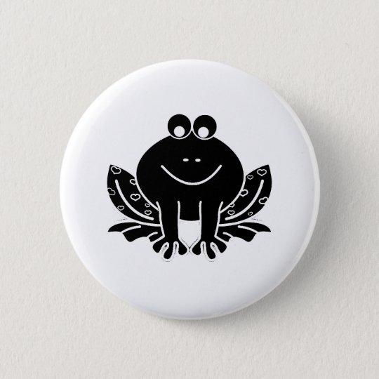cute black frog 6 cm round badge