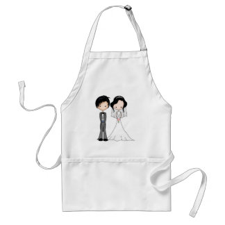 Cute Black Haired Bride and Groom Cartoon Aprons