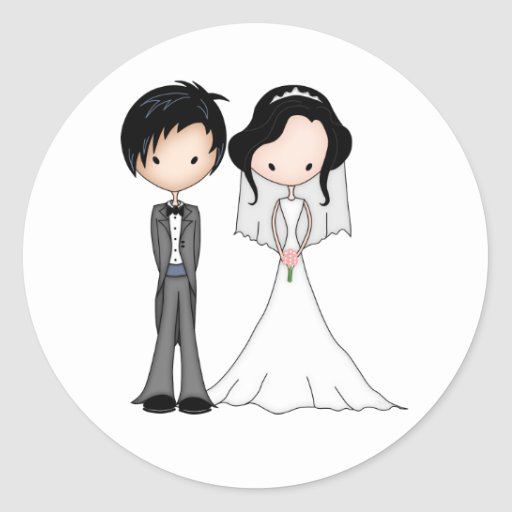 Cute Black Haired Bride and Groom Cartoon Stickers