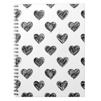 CUTE BLACK HEARTS DOODLES PATTERN NOTEBOOK