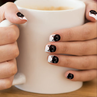 Cute Black Kawaii Kitty Cat Minx Nail Art