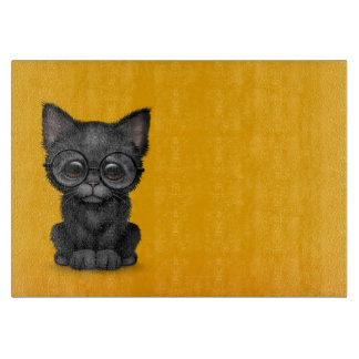 Cute Black Kitten Cat with Eye Glasses yellow Cutting Board