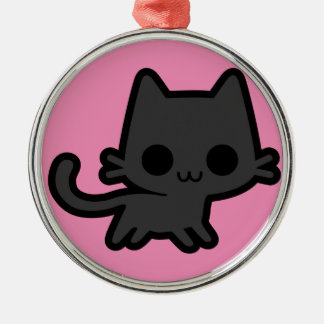 Cute Black Kitten on Pink Christmas Ornaments