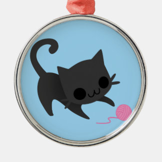 Cute Black Kitten Playing with a Ball of Yarn Christmas Ornament