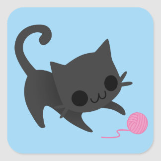 Cute Black Kitten Playing with a Ball of Yarn Stickers