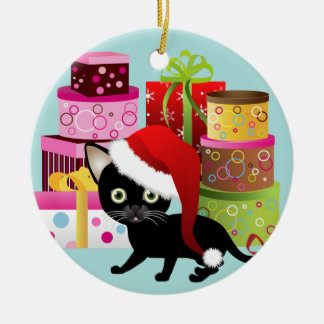 Cute Black Kitty and Christmas Presents Ornament