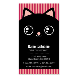 Cute Black Kitty Cat Face Striped Business Card