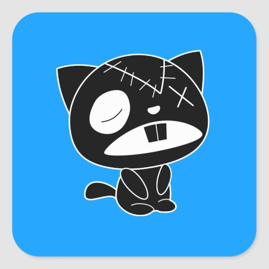 Cute Black Kitty Cat Zombie Square Sticker
