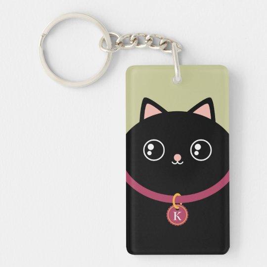 Cute Black Kitty Face Kawaii Custom Name Monogram