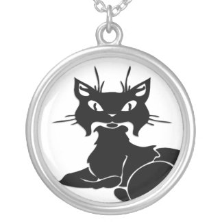 Cute Black Kitty Round Pendant Necklace