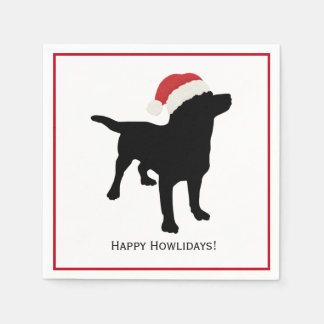 Cute Black Lab Dog with Christmas Santa Claus Hat Paper Napkins