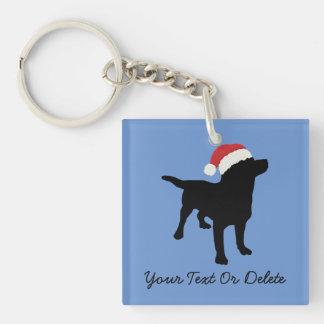 Cute Black Lab Dog with Christmas Santa Claus Hat Single-Sided Square Acrylic Key Ring