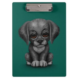 Cute Black Labrador Retriever Puppy Dog, Teal Clipboard