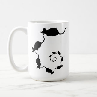 Cute Black Mouse Design. Spiral of Mice. Coffee Mug