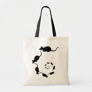 Cute Black Mouse Design. Spiral of Mice. Tote Bag
