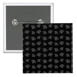 Cute black mushroom pattern 15 cm square badge