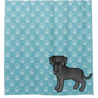 Cute Black Neapolitan Mastiff And Paw Prints Shower Curtain